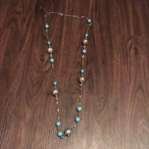 Dillard's Blue and Silver Long Necklace